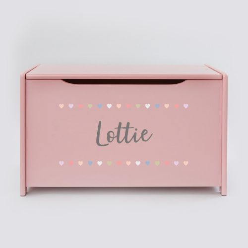 Personalised Pink Heart Toy Box