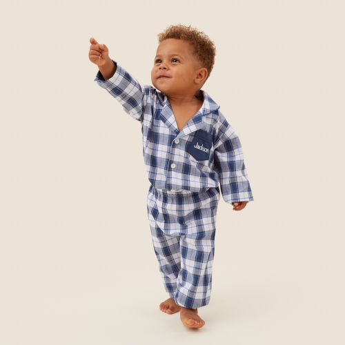 Personalised Traditional Navy Check Pyjamas Model