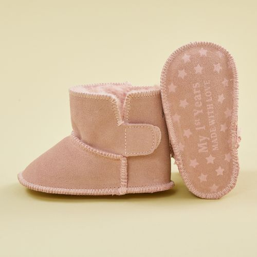 Personalized Pink Suede Booties