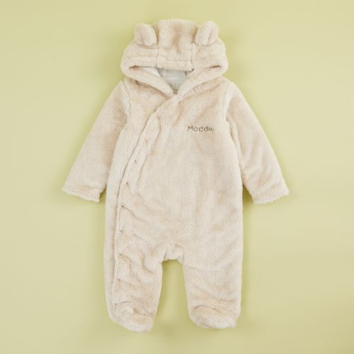 Personalized Oatmeal Fleece Pramsuit with Bear Ears