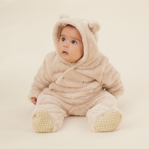Personalised Oatmeal Fleece Pramsuit with Bear Ears Model