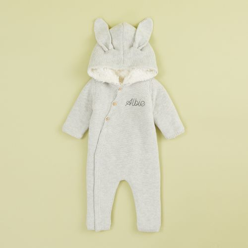Personalized Gray Knitted Baby Romper