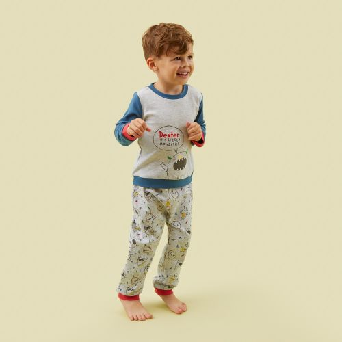 Personalised Grey Monsters Pyjama Set Model