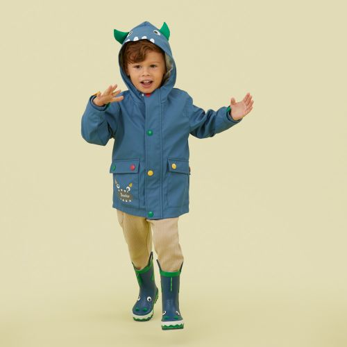 Personalised Monster Fleece Lined Rain Jacket