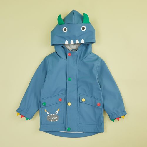 Personalised Monster Jersey Lined Raincoat