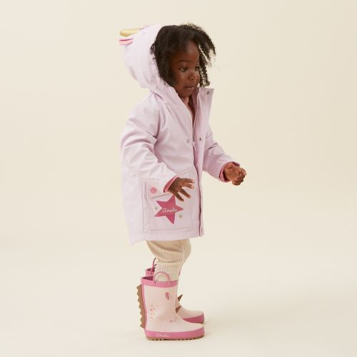 Personalised Unicorn Jersey Lined Raincoat Model