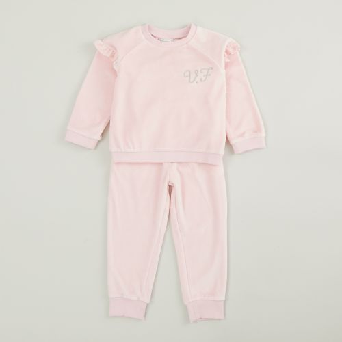 Personalized Pink Ruffle Detail Velour Tracksuit