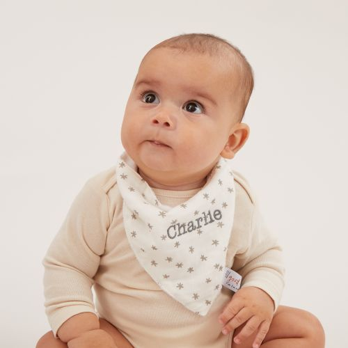 Personalised Monochrome Bamboo Muslin Bibs (3pk) Model