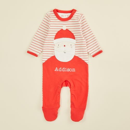 Personalized Red Striped Santa Claus Christmas Sleepsuit