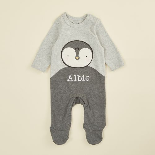 Personalised Grey Penguin Sleepsuit