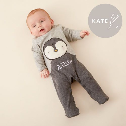 Personalised Grey Penguin Christmas Sleepsuit Model