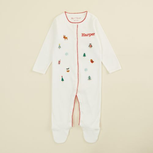 Personalised Embroidered Christmas Print Organic Sleepsuit