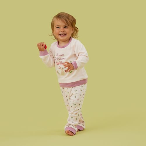 Personalized Pink Woodland Animals Pajama Set Model