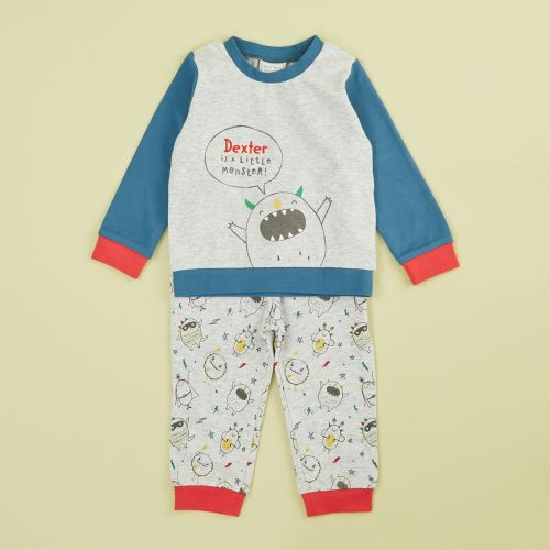 Personalized Gray Monsters Pajama Set