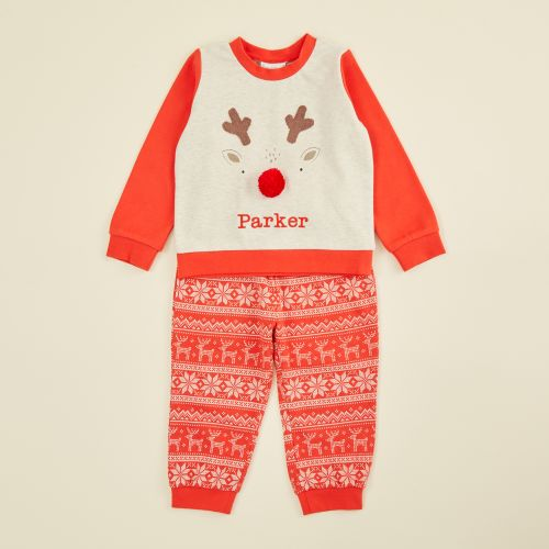 Personalized Red Reindeer Christmas Pajama Set