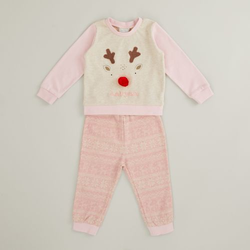 Personalised Pink Reindeer Christmas Pyjama Set