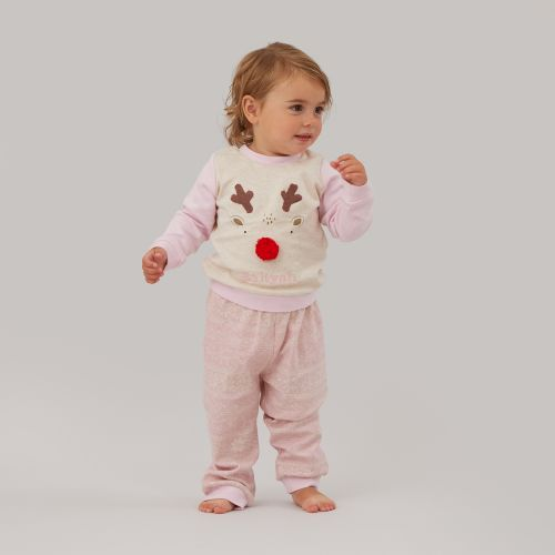 Personalized Pink Reindeer Christmas Pajama Set Model