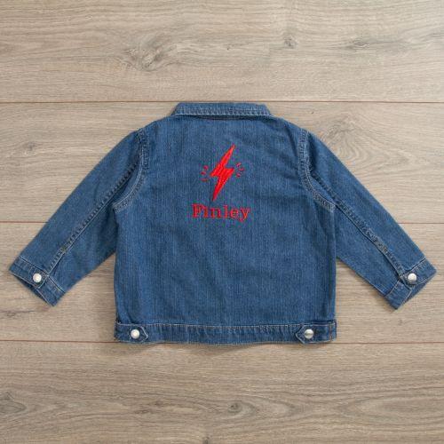 Personalised Lightening Bolt Design Denim Jacket