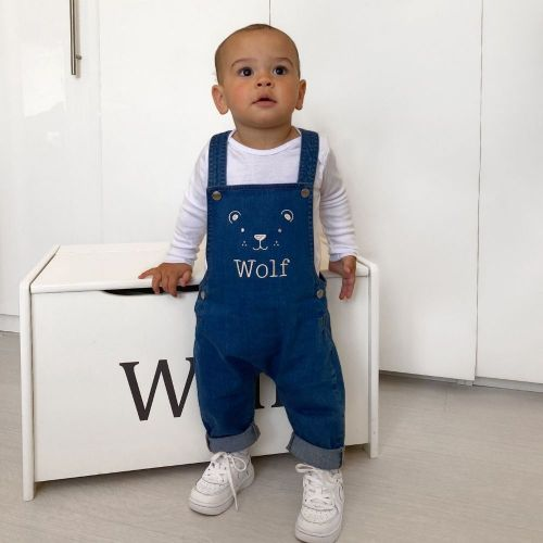 Personalised Bear Design Denim Dungarees
