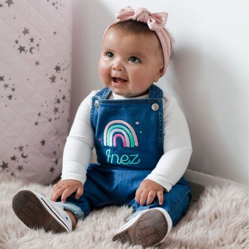 Personalised Rainbow Design Denim Dungarees