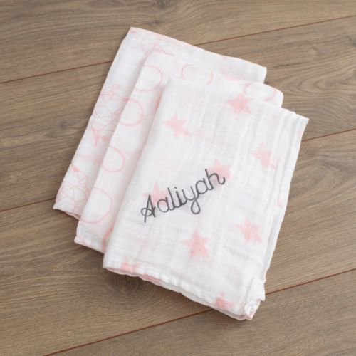 Personalised Pack of 3 Pink Star Print Muslin Swaddle Blankets folded