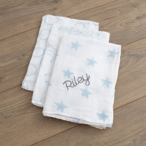Personalized Pack of 3 Blue Star Print Muslin Swaddle Blankets Folded