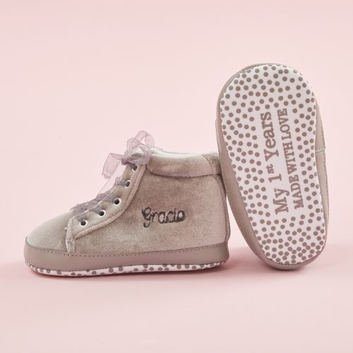 Personalized Gray Velvet High Top Baby Sneakers