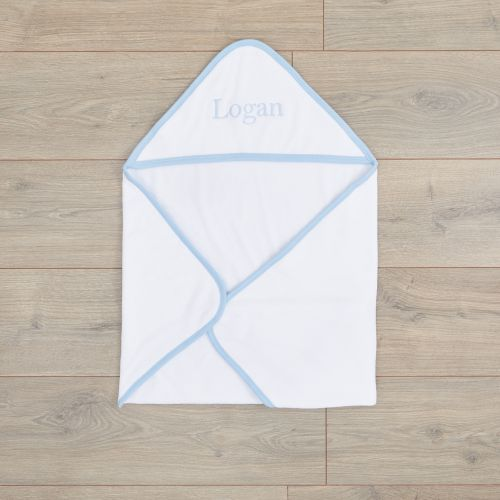 Personalized White Basic Hooded Towel With Blue Trim
