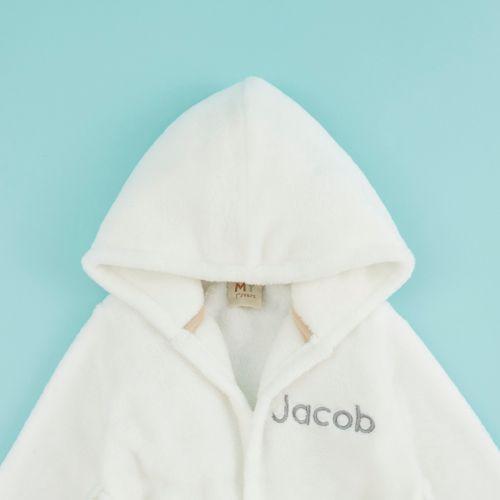 Personalised Ivory Hooded Fleece Robe