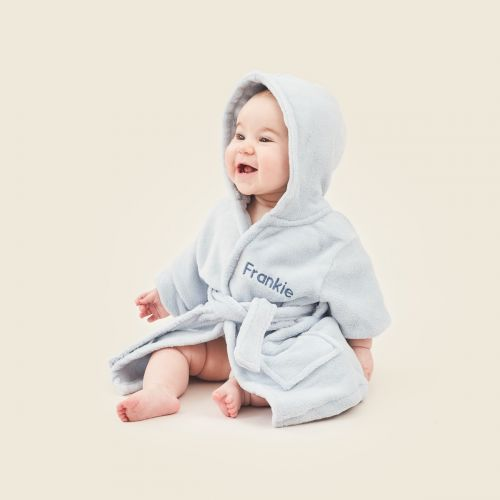 Personalized Blue Hooded Fleece Robe Model