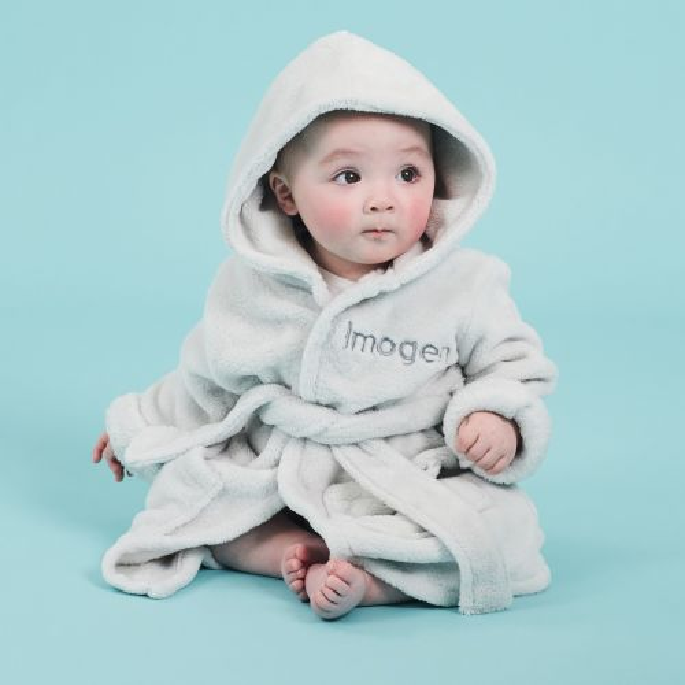 Personalized Gray Hooded Fleece Robe Model