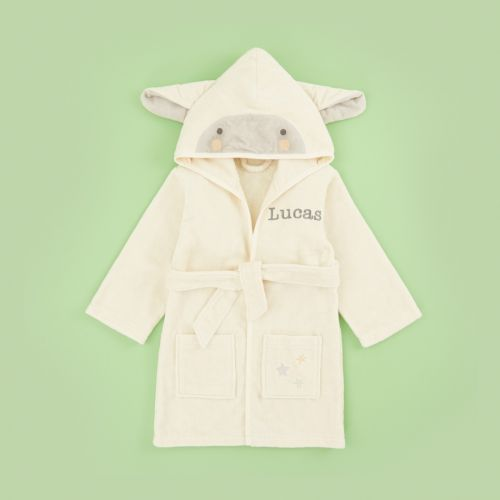 Personalised Ivory Little Lamb Towelling Dressing Gown