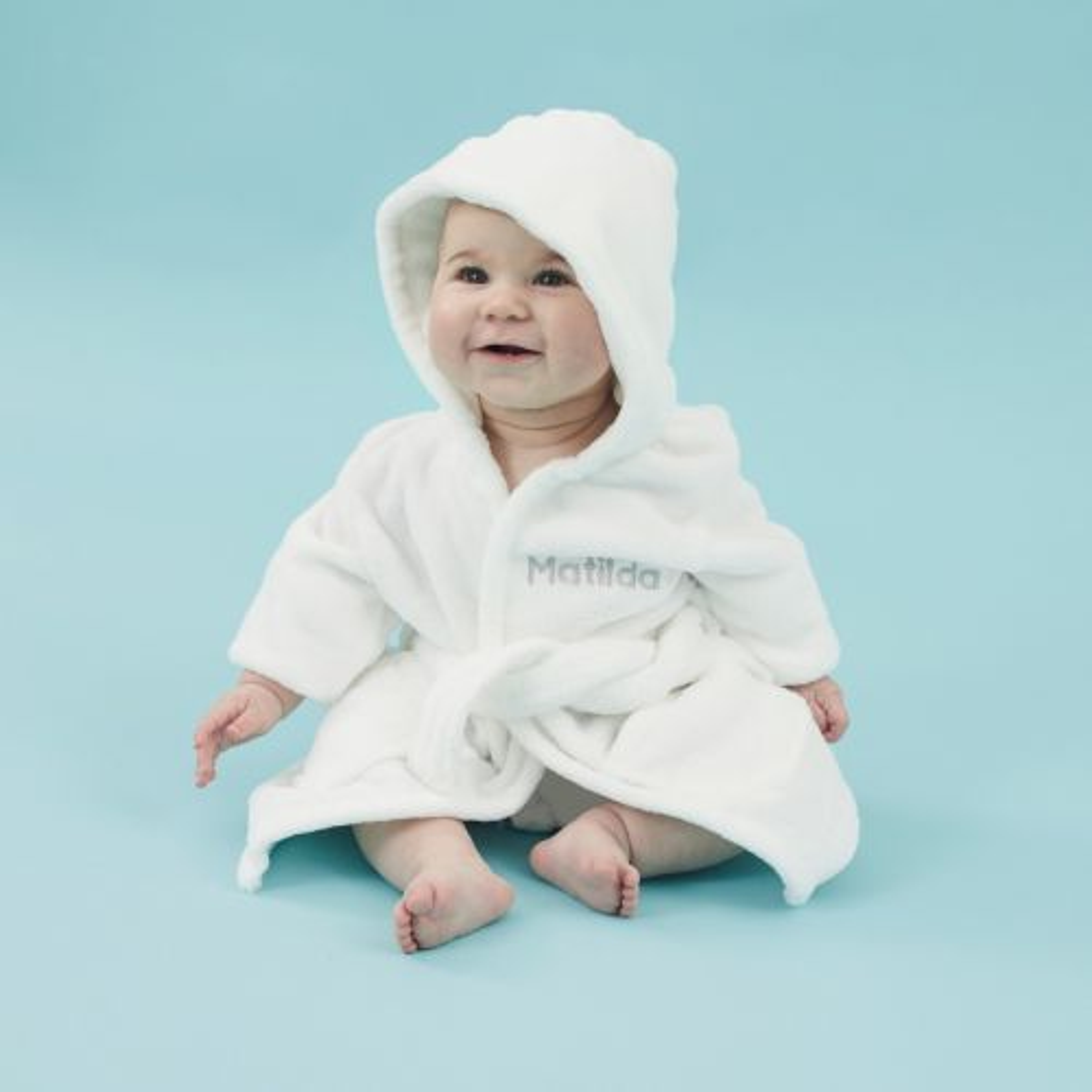 Personalised Ivory Hooded Fleece Robe Model