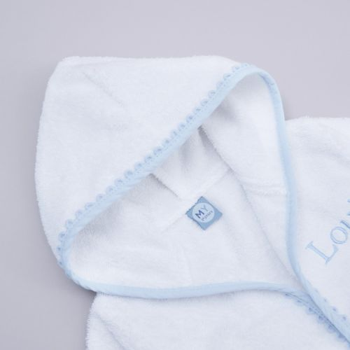 Personalised Blue Picot Trim Dressing Gown