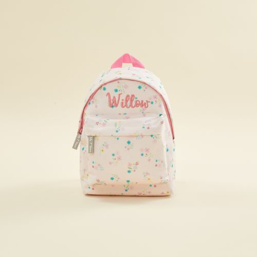 Personalised Pink Ditsy Mini Backpack