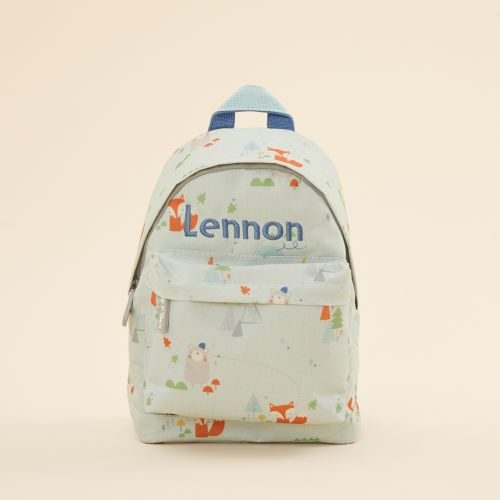 Personalised Blue Little Adventures Print Mini Backpack