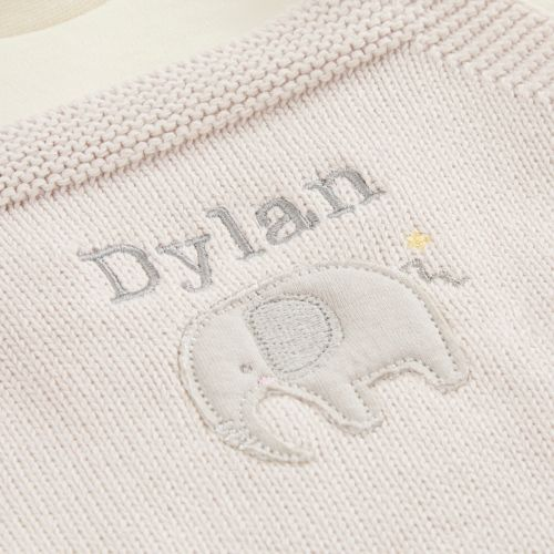 Personalized Elephant Design Knitted 3 Piece Outfit Set