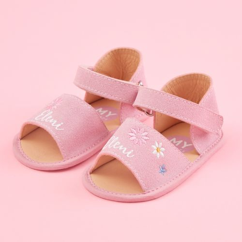 Personalised Pink Flower Design Sandals