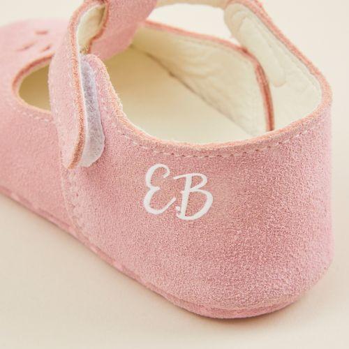 Personalised Pink Suede Pram Shoes