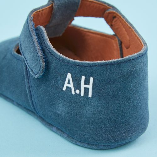Personalised Blue Suede Pram Shoe