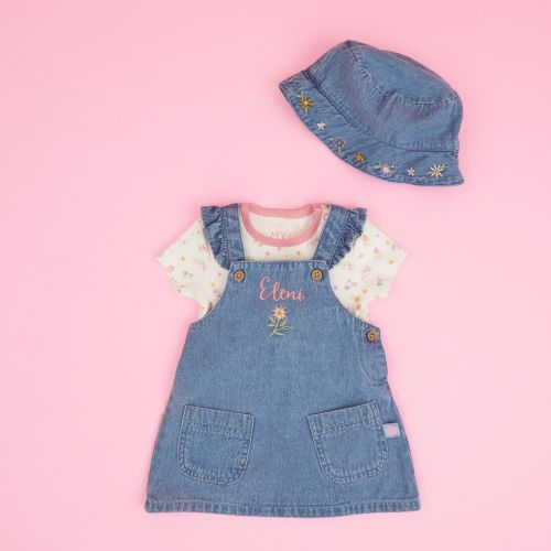Personalized Floral Design Denim Outfit Set
