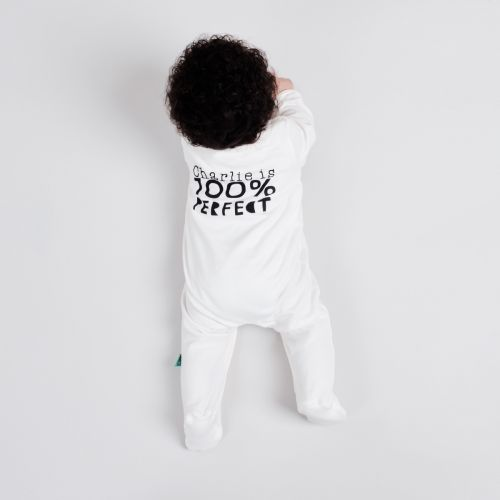 Personalised Panda Face Design Organic Sleepsuit