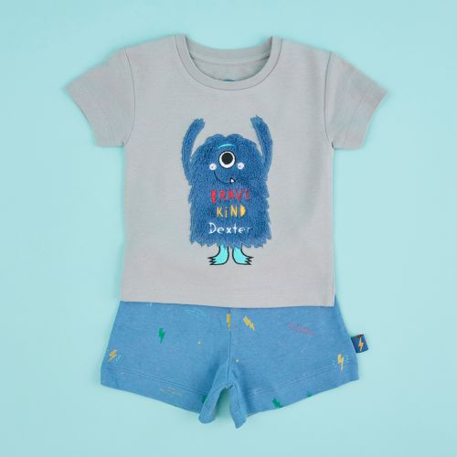 Personalised Children's Little Monster Short Pyjamas Set