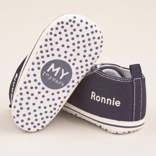 Personalised Navy Baby High Top Shoes