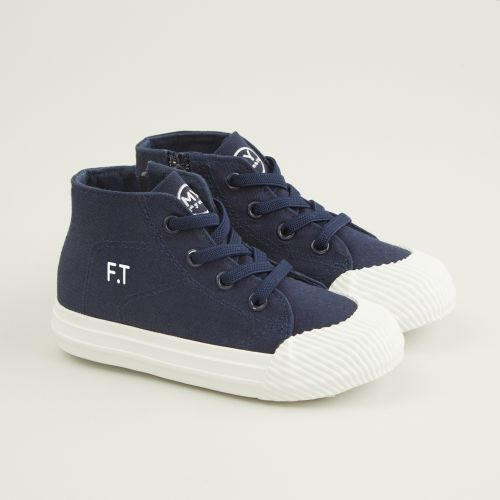 Personalised Navy Toddler High Top Trainers