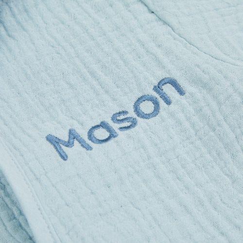 Personalised Blue Luxury Organic Muslin Dressing Gown
