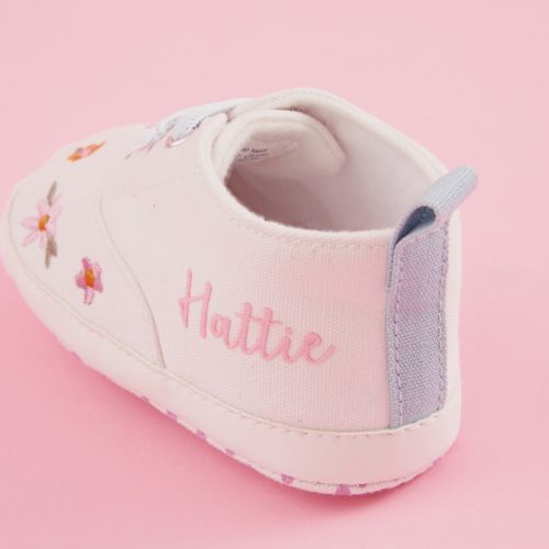 Personalised White Floral Baby High Top Trainers
