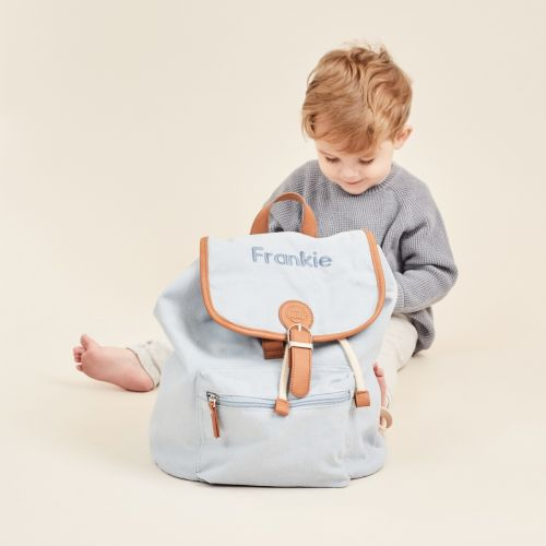 Personalised Blue Canvas Backpack