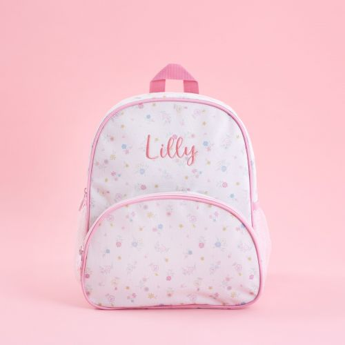 Personalised Pink Floral Print Mini Backpack