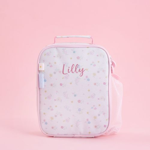Personalised Pink Floral Print Lunch Bag